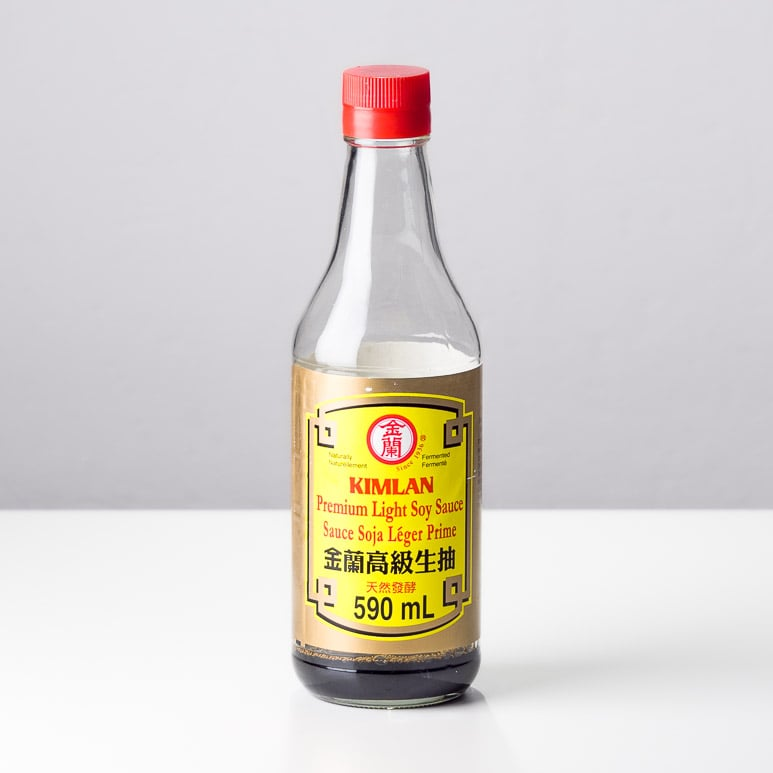 Bottle of Kim Lan Premium Light Soy Sauce regularly used in chinese cuisine.
