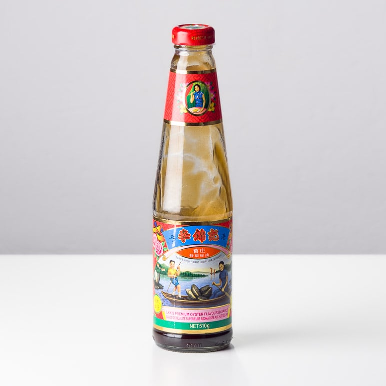 Bottle of Lee Kum Kee Oyster Sauce, commonly used in chinese cooking.