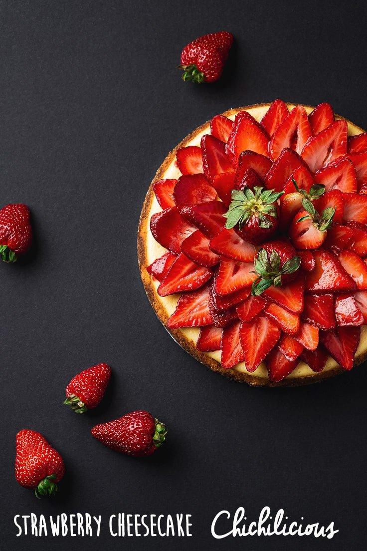 strawberry cheesecake on black background